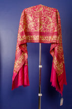 Load image into Gallery viewer, FRENCH ROSE KASHMIRI EMBROIDERED AND SWOROVSKI BEADS WOVEN PASHMINA STOLE