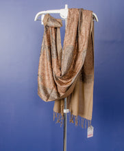 Load image into Gallery viewer, GOLDEN BEIGE WOVEN PASHMINA STOLE WITH BEAUTIFUL THREAD EMBROIDERY AND STONE PASTING
