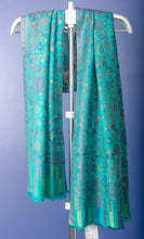 Load image into Gallery viewer, DARK TURQUOISE COLOUR PASHMINA WOVEN KANI STOLE