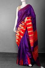 Load image into Gallery viewer, Handwoven Purple Pure Raw Silk with Red and Golden Border