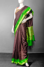 Load image into Gallery viewer, Handwoven Dark Brown Pure Raw Silk with Green Temple Border