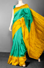 Load image into Gallery viewer, Handwoven Pure Raw Silk with Mustard Temple Border