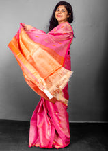 Load image into Gallery viewer, Peach Pure Woven Tissue Tussar Silk Sari With Beautiful Motifs and Orange Rich Pallu