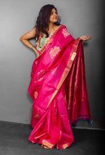 Load image into Gallery viewer, Handwoven Pink Tussar Silk Sari With Beautiful Flower and Rich Striped Pallu