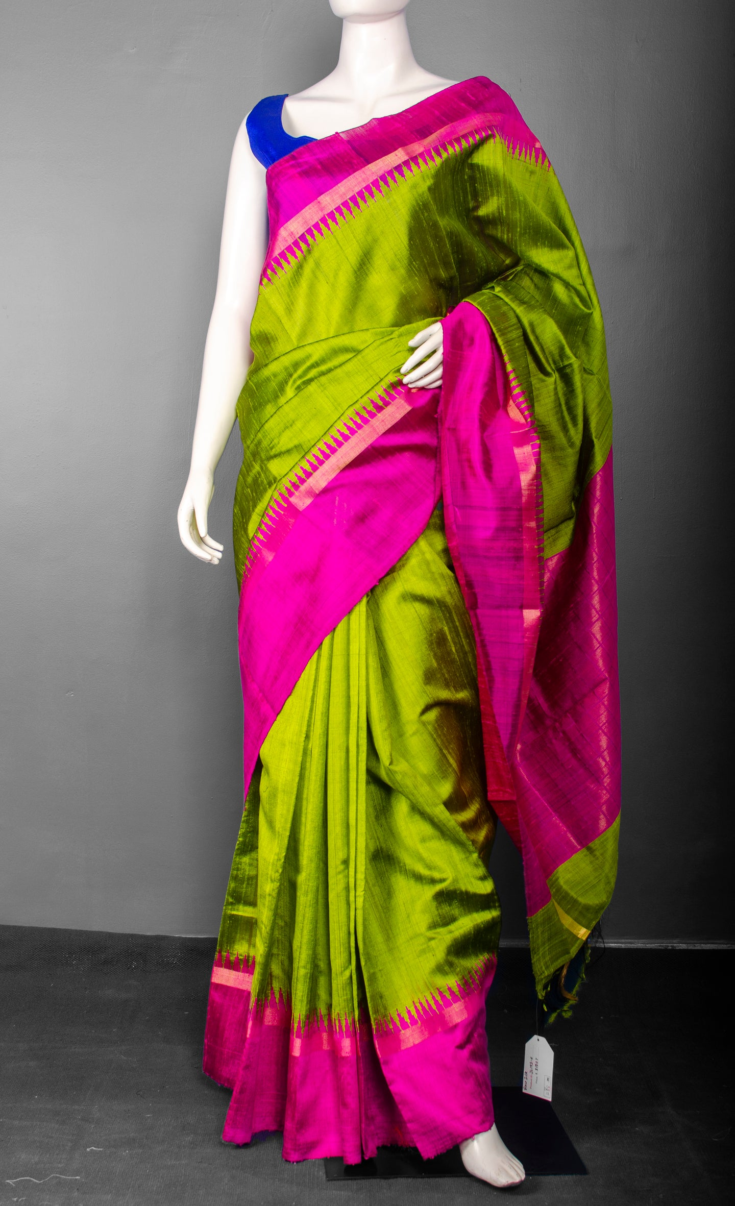 Handwoven Pure Raw Silk with Bright Pink Temple Border