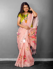 Load image into Gallery viewer, Linen Digital Floral Print Sari in Pastel Hue of Red