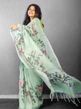 Load image into Gallery viewer, Linen Digital Floral Print Sari in Pastel Hue of Pista Green