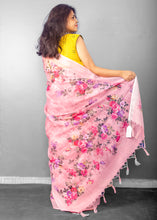Load image into Gallery viewer, Linen Digital Floral Print Sari in Pastel Hue of Pink