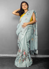Load image into Gallery viewer, Linen Digital Floral Print Sari in Pastel Hue of Cement Grey