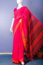 Load image into Gallery viewer, Handloom Redish Pink Cotton Sari
