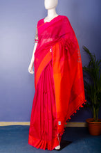 Load image into Gallery viewer, Pure Handloom Pink-Orange Cotton Silk Sari.
