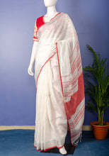 Load image into Gallery viewer, Handwoven white with Silver-Red Border Linen Sari