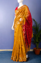 Load image into Gallery viewer, Handwoven Mustard with Red Pallu Cotton Silk Sari
