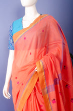 Load image into Gallery viewer, Cantaloupe Handwoven Jamdani Khadi Cotton Sari