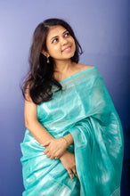 Load image into Gallery viewer, Bright Turquoise Tissue Linen Sari
