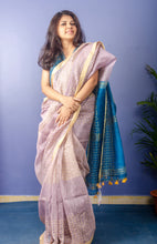 Load image into Gallery viewer, Handwoven Pastel Purple with Blue Pallu Saree