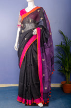 Load image into Gallery viewer, Handwoven Black Colour Linen with Purple Pallu Sari