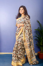 Load image into Gallery viewer, Beautiful Kalamkari Print on Pure Tusser Silk Saree