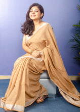 Load image into Gallery viewer, Natural Brown Cotton Sari with Silver Zari Border
