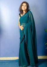 Load image into Gallery viewer, Beautiful Pine Green Georgette Sari with Scallop Border