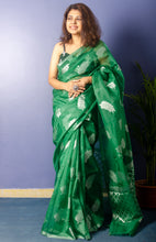 Load image into Gallery viewer, Emerald Green Organza Sari With Silver Zari Work