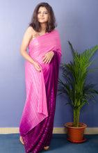 Load image into Gallery viewer, Orchid Georgette Lurux Sari with Golden sequnce Blouse