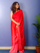 Load image into Gallery viewer, Peach Red Shades Geogette Sari