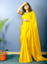 Load image into Gallery viewer, Mustard Yellow Satin Saree With Green Blouse Piece