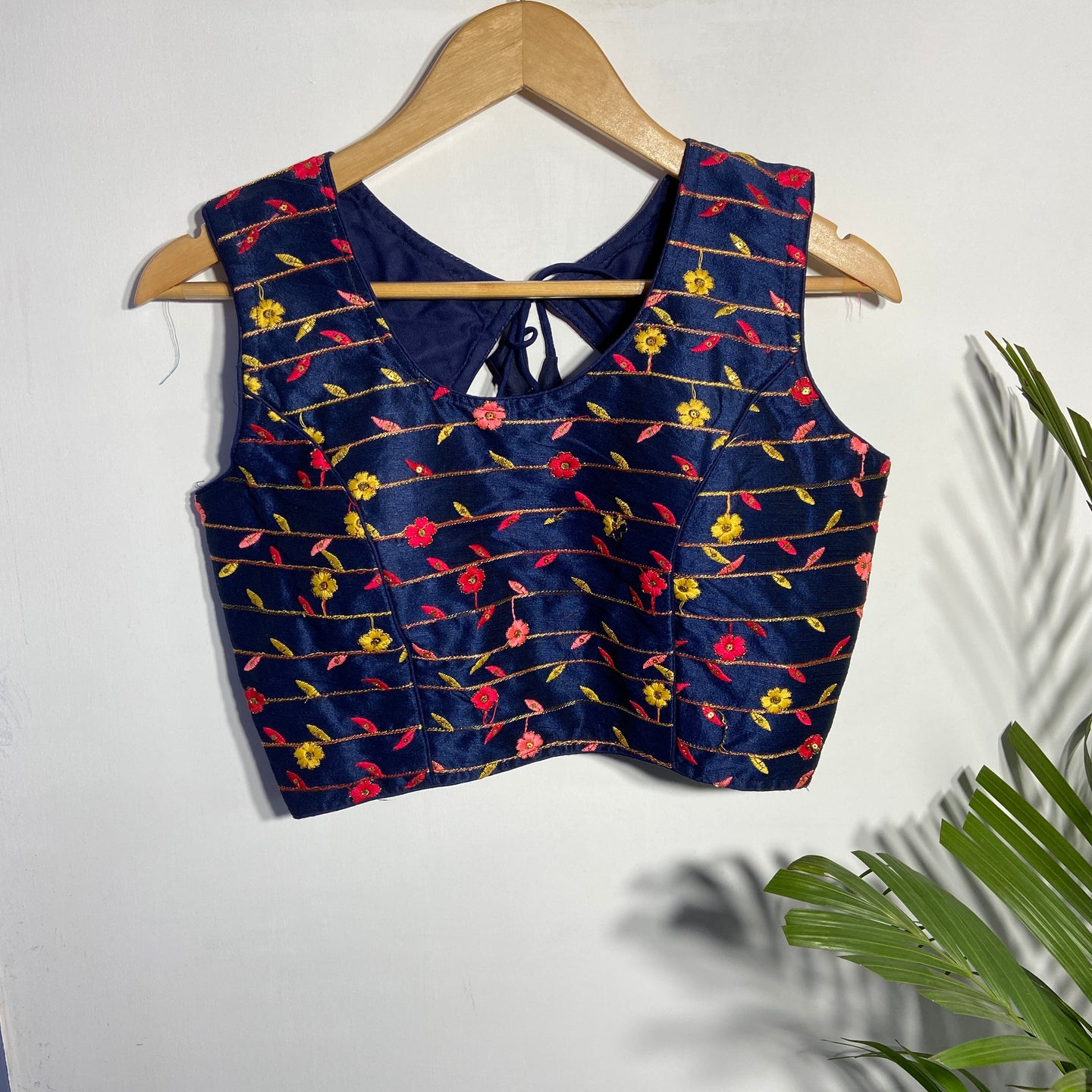 Navy Blue Blouse With Multi Colour Embroidery