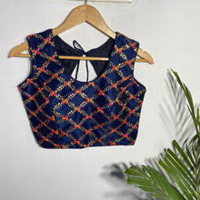 Load image into Gallery viewer, Naby Blue Blouse With Multi Colour Embroidery