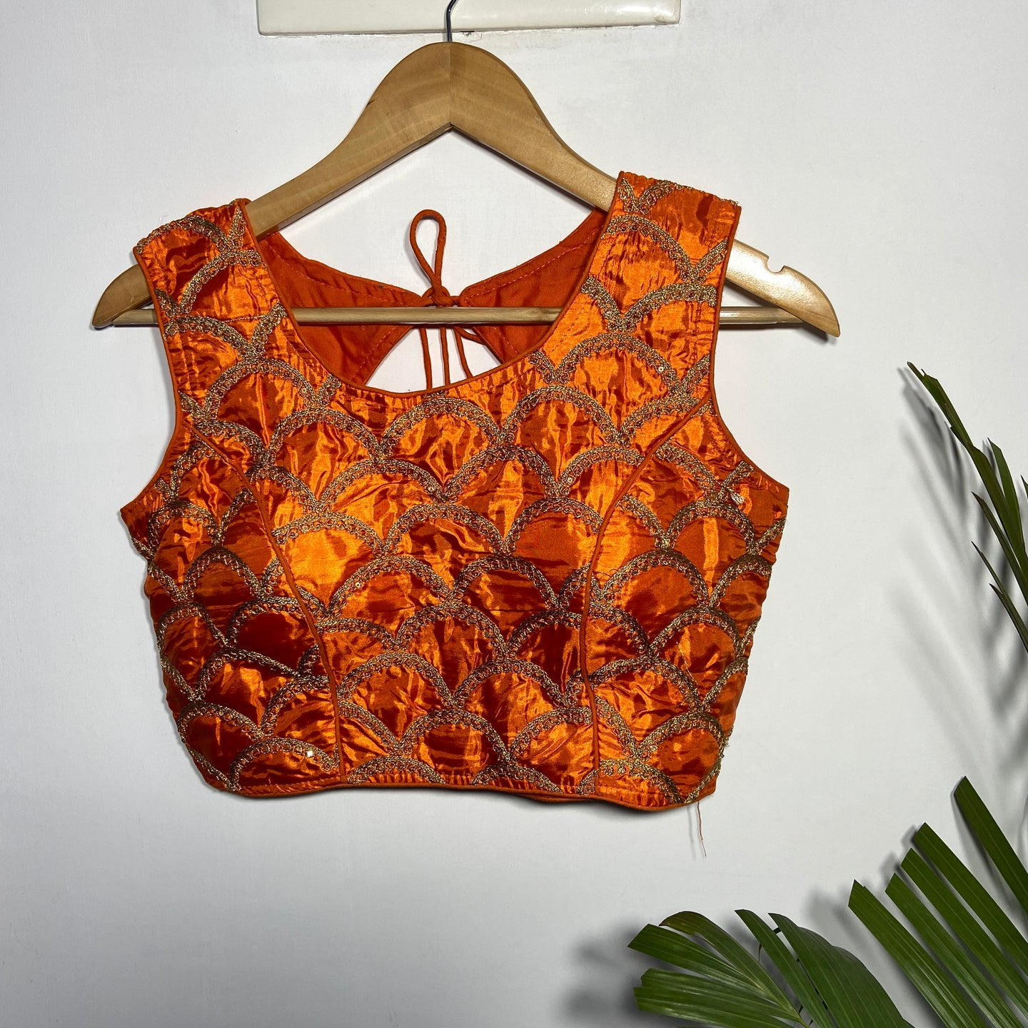 Orange Blouse with Golden Zari work