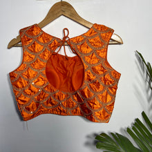 Load image into Gallery viewer, Orange Blouse with Golden Zari work