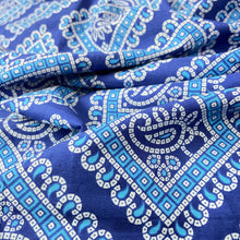 Load image into Gallery viewer, Blue White Bandhni Screen Print Cotton Fabric