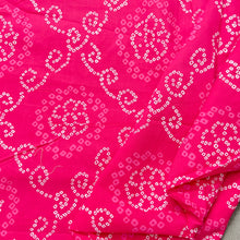 Load image into Gallery viewer, Pink White Bandhni Screen Print Cotton Fabric