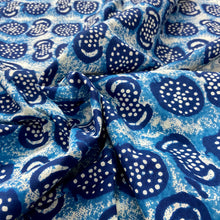 Load image into Gallery viewer, Blue White Abstract Pattern Washed Indigo Digital Print Cotton Fabric