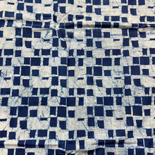 Load image into Gallery viewer, Blue White Geometric Pattern Washed Indigo Digital Print Cotton Fabric