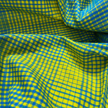 Load image into Gallery viewer, Lemon Yellow and Blue Checks Pattern Cotton Fabric