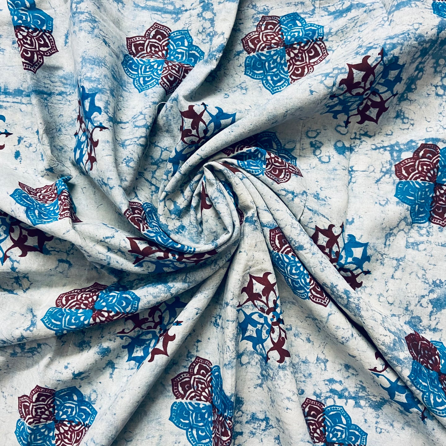 Bluish White Abstract Pattern Washed Indigo Digital Print Cotton Fabric