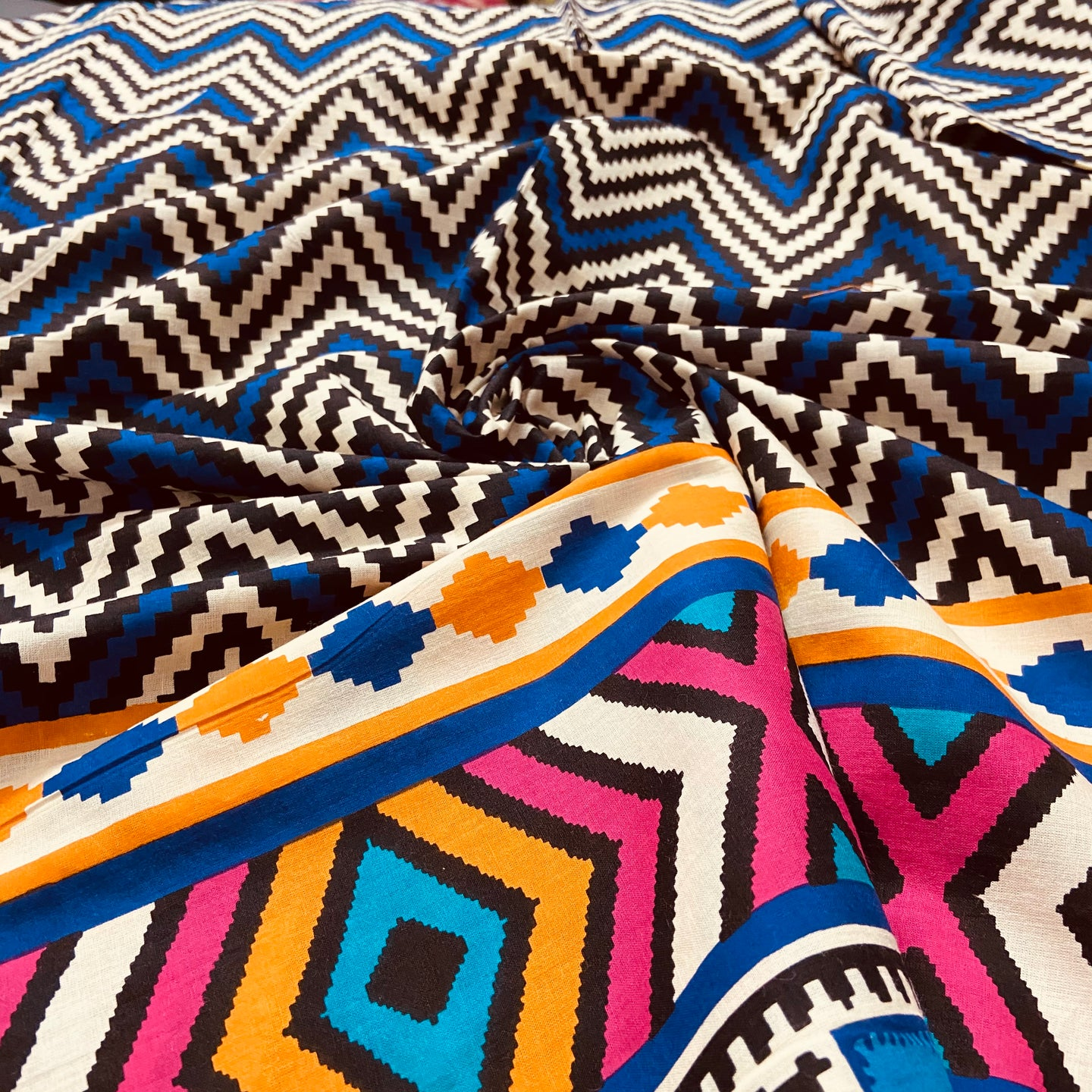 Multi Color Zigzag  Pattern Digital Print on Cotton Fabric