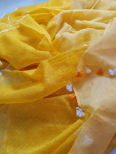 Load image into Gallery viewer, Beautiful Handwoven Yellow Linen Resham Sari with sequins