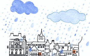 Edinburgh in the rain textile and paint artwork