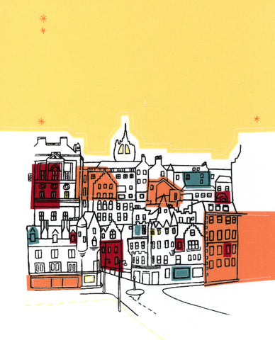 Edinburgh Skyline Print (yellow)