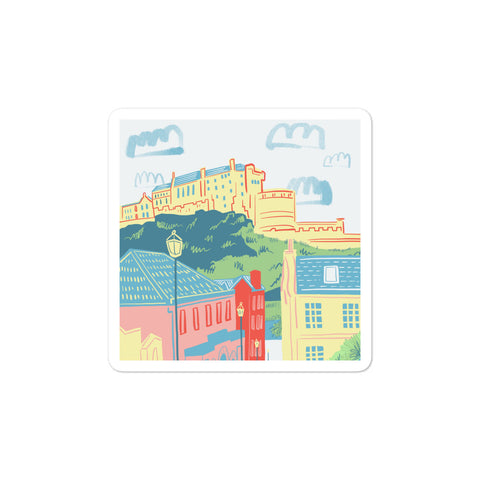 Edinburgh Castle (Through the Vennel) Bubble-free stickers