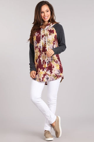 Wine Floral Sweater