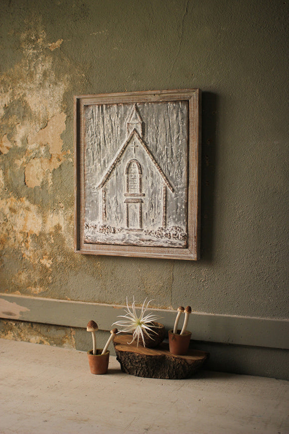 pressed metal church wall decor
