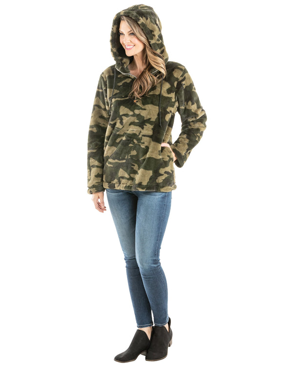 Camo Hooded Sherpa Jacket