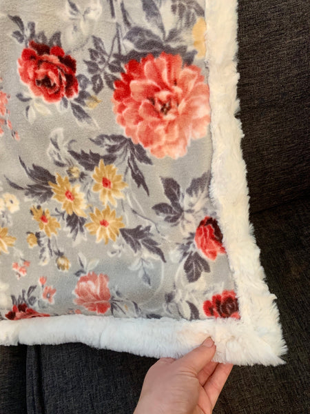 Floral and Faux Fur Blanket