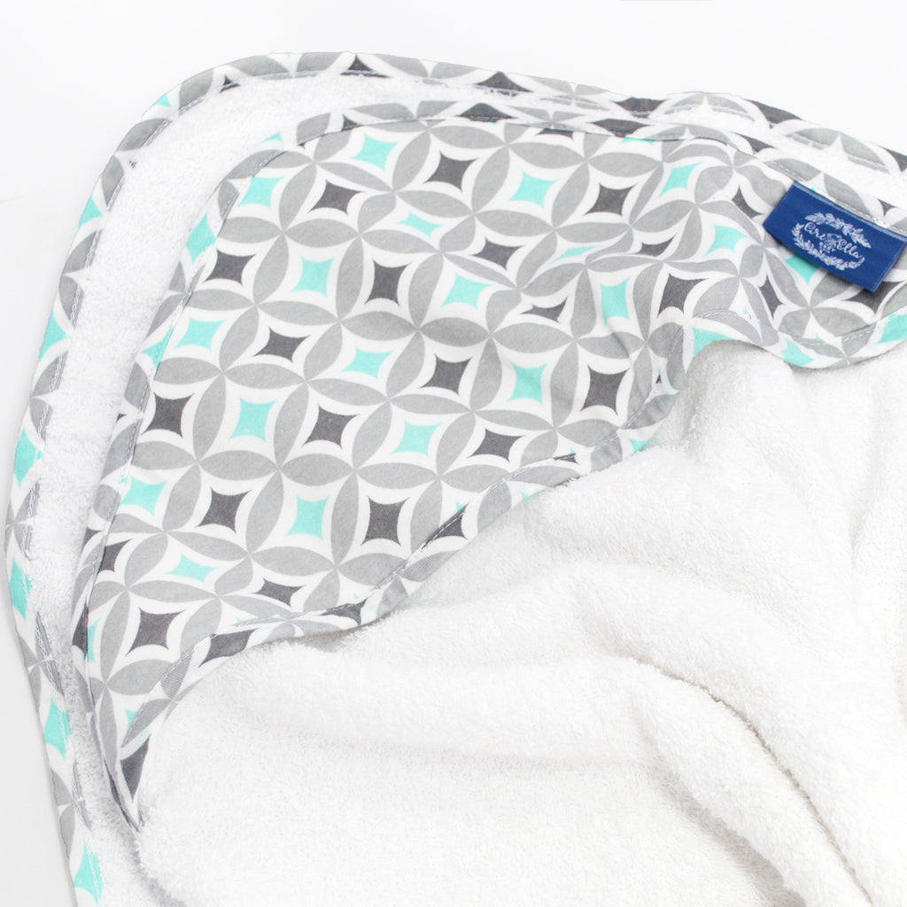 Hooded Towel - Aqua Mosaic