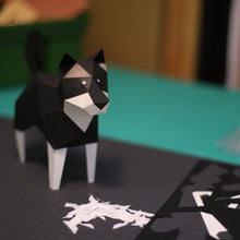 Load image into Gallery viewer, KAKUKAKU 3D Origami Paper Craft Figurine - SHIBA INU BLACK