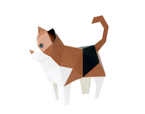KAKUKAKU 3D Origami Paper Craft Figurine - CALICO CAT